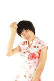 Girls wear a cheongsam Stock Images
