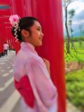 Girls wear yukata. New travelling place Hinoki Land Japanese style castle made by Hinoki Woods stock photos