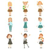 Girls Wearing An Assortment Of Classy School Uniforms Set. Bright Color Isolated Vector Drawings In Simple Cartoon Design On White Background Royalty Free Stock Photo