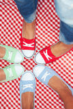 Girls wearing colorful sneakers Royalty Free Stock Image