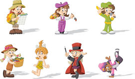 Girls wearing different costumes. Group of cartoon girls wearing different costumes Stock Photos