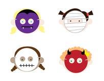 Girls Wearing Halloween Masks Stock Photos