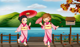 Girls wearing kimono Royalty Free Stock Photography