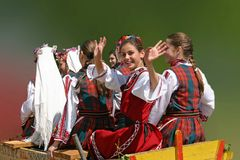 Girls wearing traditional Bulgarian clothes Royalty Free Stock Photography