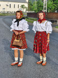 Girls wearing traditional costume in Romania Stock Image