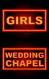 Girls Wedding Chapel Neon Black Background. Girls and Wedding Chapel text in neon style over black background royalty free stock photos
