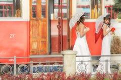 Girls in a wedding dresses. Belgrade royalty free stock photo