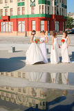 Girls in a wedding dresses Stock Photos