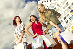 Girls went shopping Stock Images