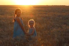 Girls on a wheat field Stock Photos