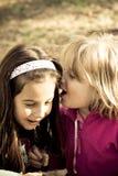 Girls whispering. Two little girls sharing a secret whisper Stock Photo