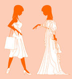 Girls in white. Vector illustration of a girls in white Royalty Free Stock Images