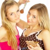 Girls on a white background. Make-up. Stock Photo