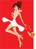 Girls in white dress on red background. Vector illustration of a girls in white dress on red background Stock Photo