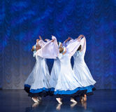 Girls in white dresses dancing on stage, Russian National Dance Stock Photos