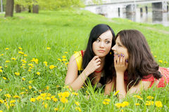Girls who fissile secrets with each other. Picture of two girls who fissile secrets with each other royalty free stock photos