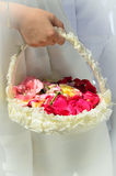 Basket with rose petals in the Corpus Christi procession Stock Photos