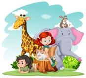 Girls and wild animals Royalty Free Stock Photo
