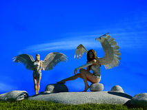Girls with wings. Royalty Free Stock Photos