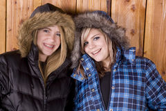 Girls in winter coats Royalty Free Stock Image