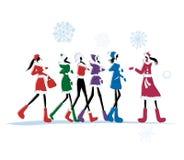 Girls in winter coats for your design vector illustration