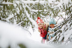 Girls in winter park Royalty Free Stock Images