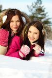 Girls in winter Royalty Free Stock Photo