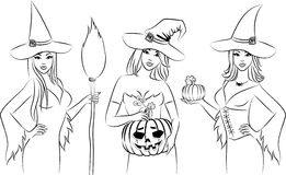 Girls witch in Halloween style. Royalty Free Stock Image