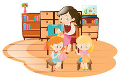 Girls and woman sewing in the room. Illustration Royalty Free Stock Images