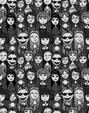 Girls and women crowd - cartoon style positive Royalty Free Stock Photos