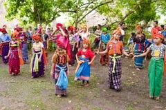 Kodi, Indonesia -  traditional dances in Sumba Island Nusa Tenggara. Girls and women dancing with traditional garbs in Lesser Sunda Islands, Indonesia Stock Photos