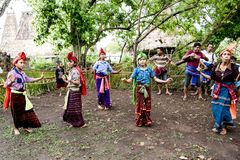 Girls and women dancing traditional dances Kodi, Sumba Island Nusa Tenggara stock image