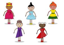 Girls, women, dolls. In different dresses, with different hairstyles, fashion Royalty Free Illustration