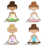 Girls / Women Practicing Yoga - Vector Illustration Set eps10 Royalty Free Stock Photos