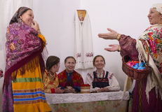 Girls and women in Russian national costumes. At bachelorette party Royalty Free Stock Photos