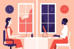 Girls work in the office. Women in profile sit in different rooms. Day and night. Different time zones. Vector Flat Illustration Royalty Free Stock Images