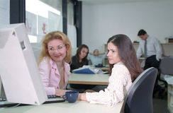 Girls working royalty free stock images