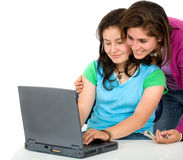 Girls working on a laptop Stock Photography
