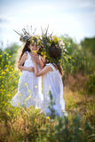 Girls in wreaths in the field. Girls in wreaths girlfriends having fun in the field Stock Photo