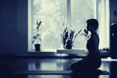 Girls  in yoga room Royalty Free Stock Photo