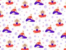 Vector Yoga Girls stock illustration