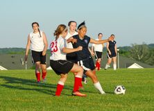 Girls youth soccer players compete for the ball. stock photo