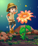 A girlscout near the giant flower. Illustration of a girlscout near the giant flower Royalty Free Stock Images