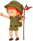 Girlscout in uniform holding flag. Illustration Royalty Free Stock Photography
