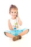 Girlt y teléfono foto de archivo libre de regalías
