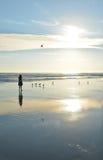 Girlwalking na pięknej plaży Obrazy Royalty Free