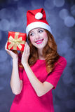 Girlwith gift. Royalty Free Stock Photo