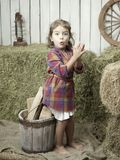 Girlwithhay. Little girl with hay in the country style Stock Image