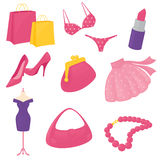 Girly Accessory Icons Stock Images