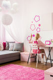 Girly bedroom with wall decoration. Image of girly bedroom with pink wall decoration Stock Image